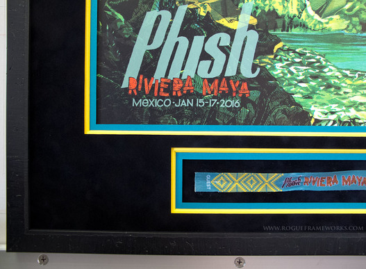 Phish Rivera Maya poster & wristband framed by rogueframeworks.com